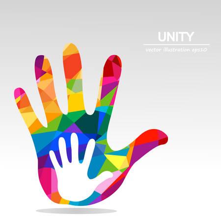hands helping illustration background Vettoriali