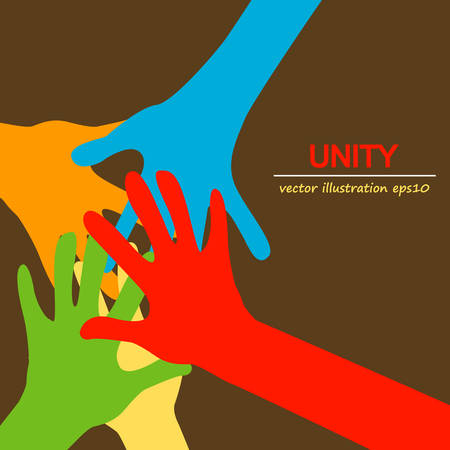 group  join: hands diverse togetherness background Illustration