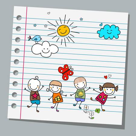 Papier notebooka szczęśliwy letni dzień Ilustracje wektorowe