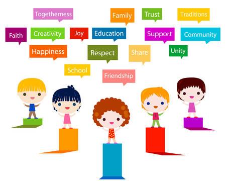enfants heureux valeurs infographiques