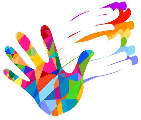 diversity: hand colorful illustration background