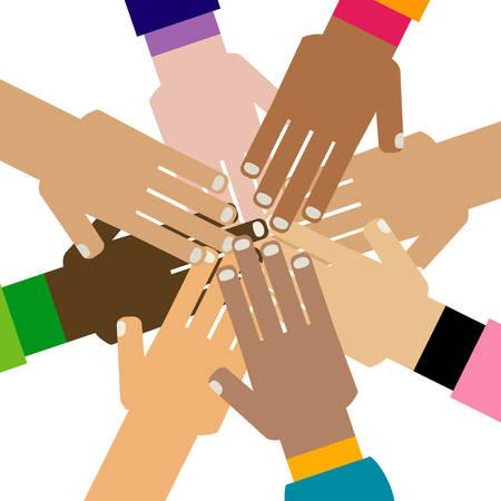 fraternidad: la diversidad manos juntas ilustración Vectores