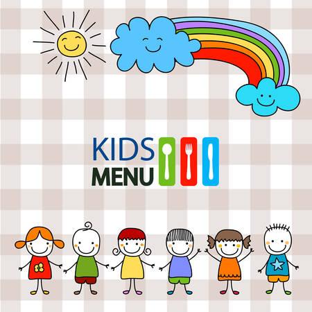 menu design: kids menu background design illustration Illustration