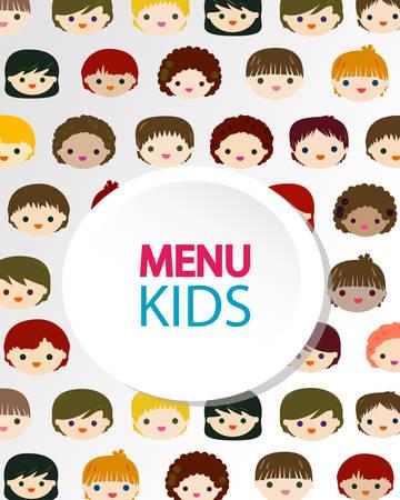 kids faces menu background Illustration