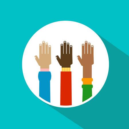 manos levantadas: ilustraci�n manos diversidad planteado