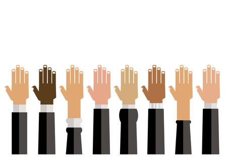 diversity hands up illustration Illustration