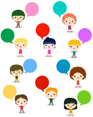 talking: kids talking Illustration