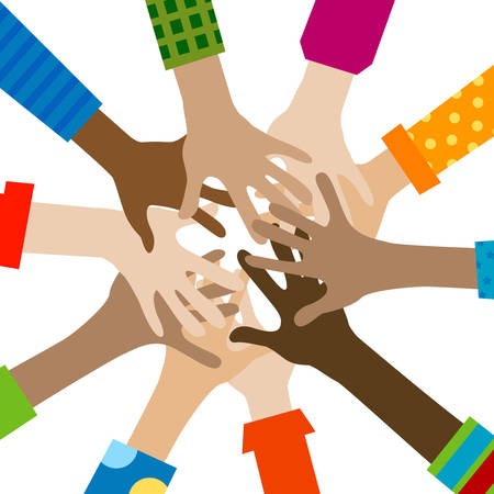 oneness: hands diverse togetherness background Illustration