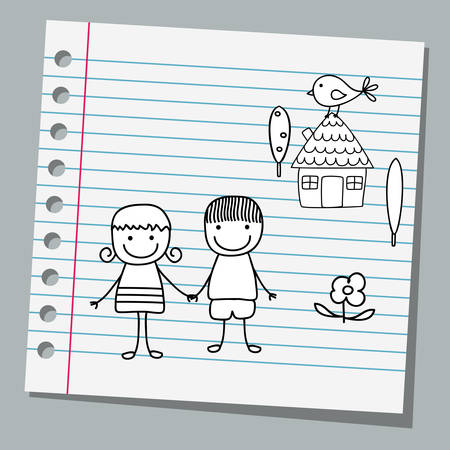 notebook paper with happy couple