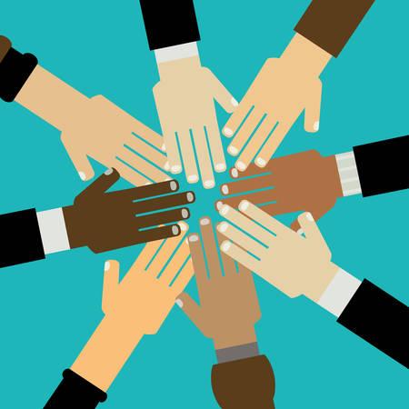 hands together: diversity hands together illustration