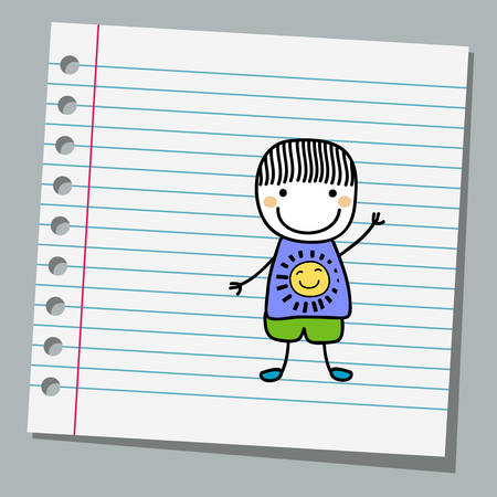 notebook paper with little boy