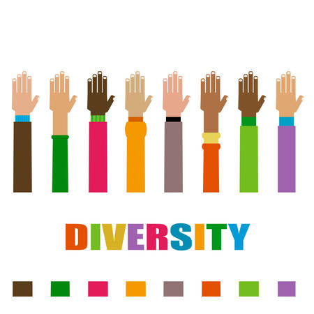 diversity hands raised illustration Illustration