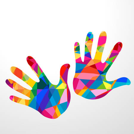 oneness: hand colorful illustration background