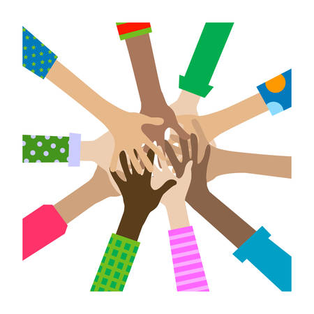 hands diverse togetherness background Illustration
