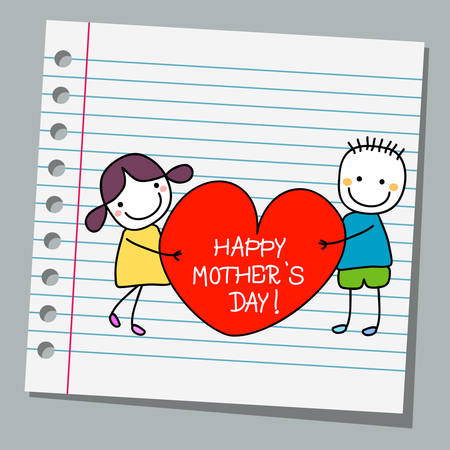 notebook paper happy kids with heart Illustration