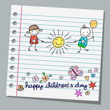 niños felices: papel de cuaderno día de los niños felices