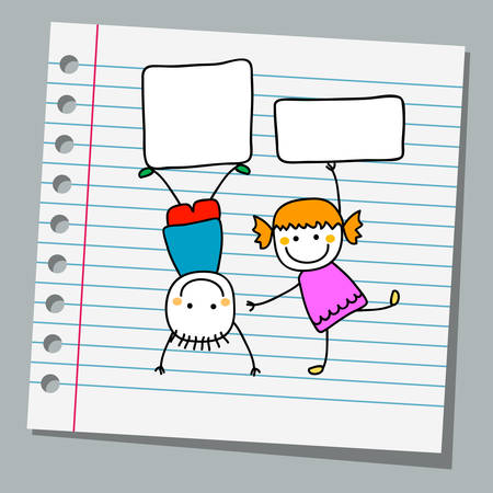 notebook paper happy kids with banners