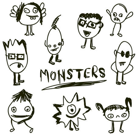 doodled monsters, hand drawn monster icon Illustration