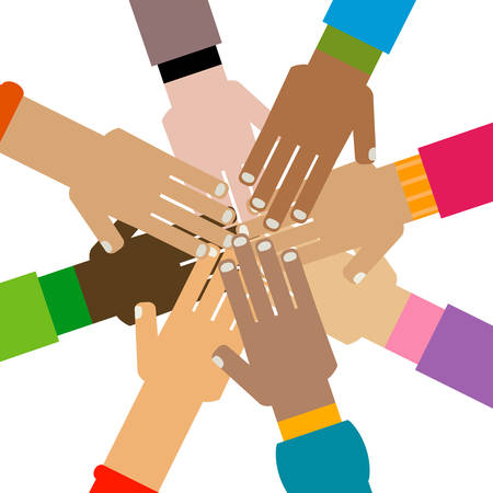 diversity hands together illustration