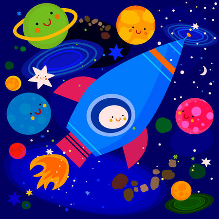 stars and planets colorful illustration Illustration
