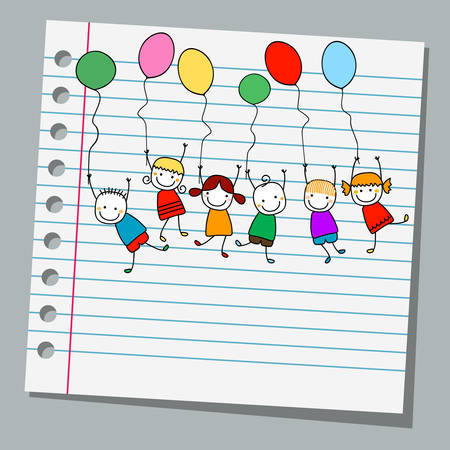 notebook paper happy kids with balloons Illustration