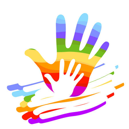 hand rainbow colorful illustration
