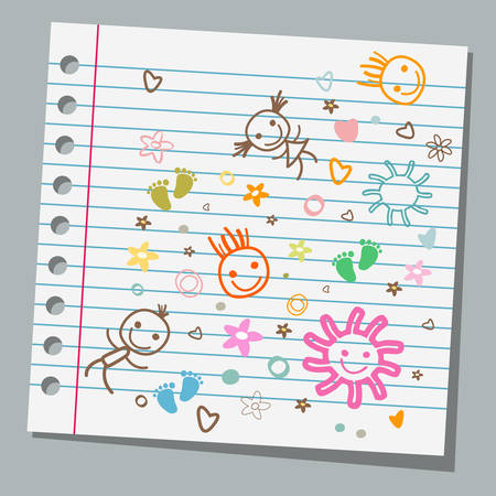 notebook paper child drawings