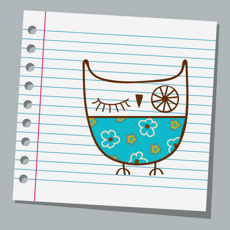 notebook paper cute owl Illustration