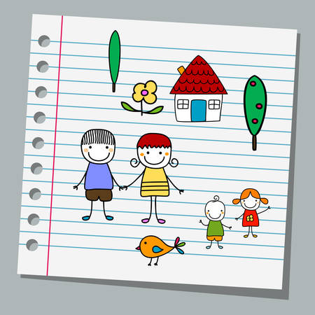 notebook paper with family