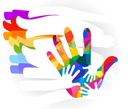 diversidad: mano ilustración colorida