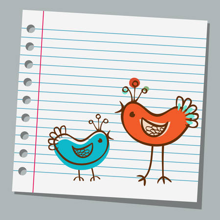 notebook paper cute bird