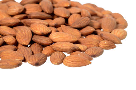 Almonds isolated on white background, Close up Stock Photo