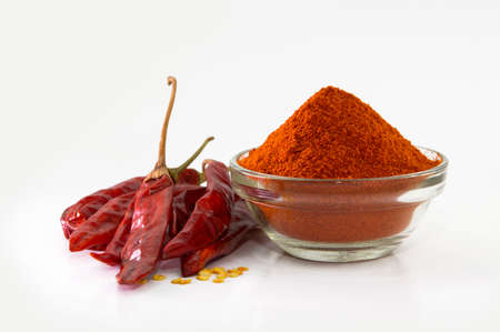 chilly: chilly powder with red chilly dried chilies Stock Photo