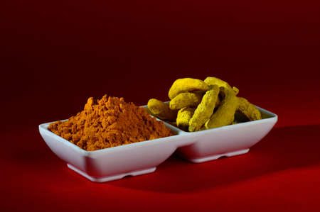 peppery: Dry Turmeric powder and roots or barks in white plate Stock Photo