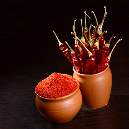 hottest: chilly powder with red chilly in clay pots, dried chillies on dark background Stock Photo
