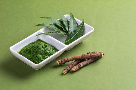 Medicinal Neem leaves paste and leaves with twigs on green background Stock Photo