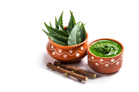 neem: Medicinal Neem leaves with paste and twigs on white background