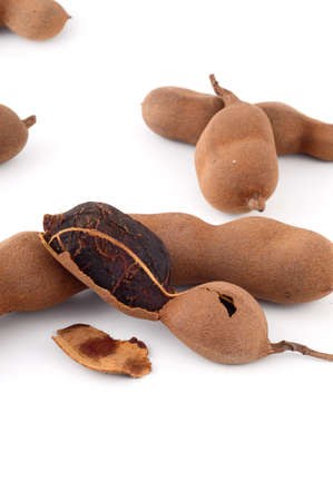 long bean: Tamarind isolated on white background. Sweet tamarind (Tamarind indica L.)