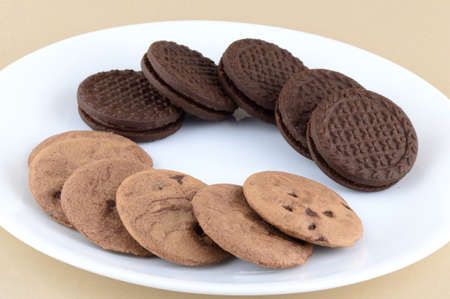 choco chips: Chocolate Chip Cookie and cream Biscuit in plate.