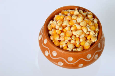 Dried corn in clay pot