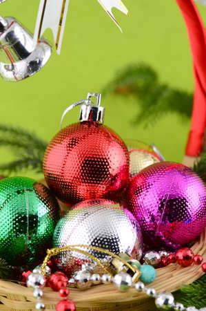 Cristmas: Christmas Decoration: Christmas ball and ornaments with the branch of Christmas tree