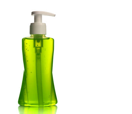 Bottle of liquid soap or cream or face wash dispensers or liquid stopper isolated on white background. 스톡 콘텐츠