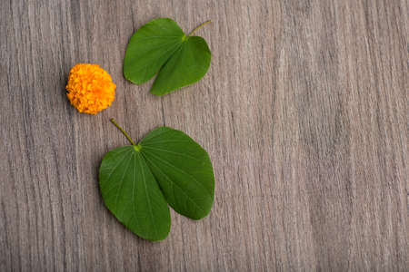 Indian Festival Dussehra, showing golden leaf (Bauhinia racemosa) and marigold flowers on a wooden background. Stock Photo