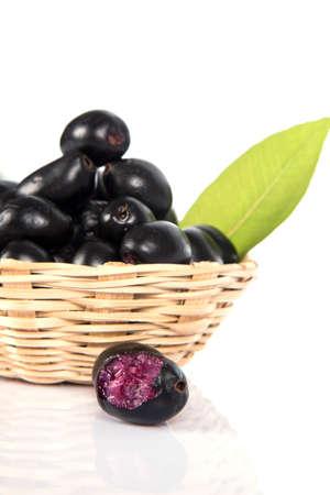 Jambolan plum or Java plum (Syzygium cumini) Stock Photo