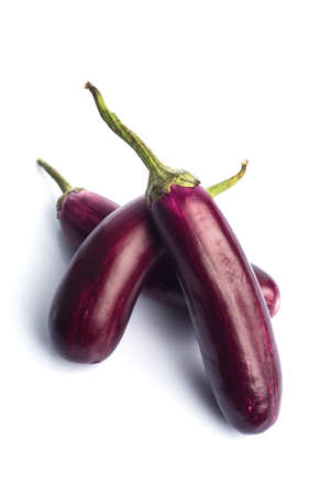 Eggplant or aubergine or brinjal vegetable isolated on a white background.