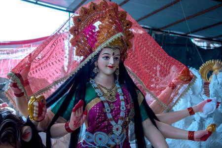 Hindu Goddess Durga. Goddess Durga Idols at an artist's workshop for Durga Festival.