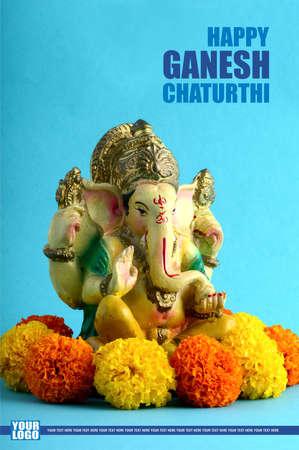 Happy Ganesh Chaturthi Greeting Card design with lord ganesha idol