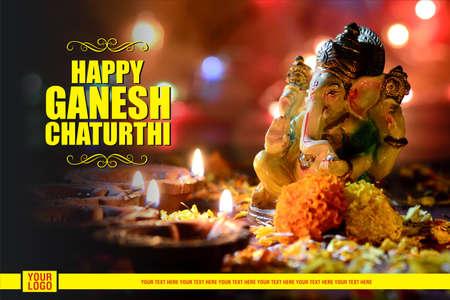 Happy Ganesh Chaturthi Greeting Card design with lord ganesha idol Stock Photo