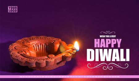 Greetings Card Design: Clay diya lamps lit during Diwali Celebration. Indian Hindu Light Festival called Diwali