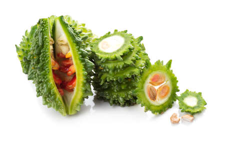 Bitter melon or bitter gourd on white background. 免版税图像 - 136038032